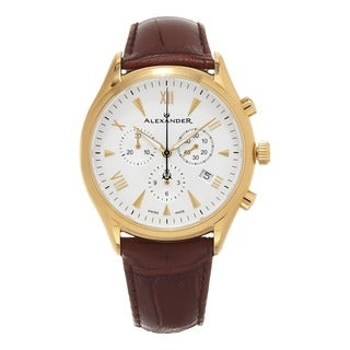 Alexander Men's A021-05 'Pella' Silver Dial Brown Leather Strap Swiss Quartz Chronograph Watch