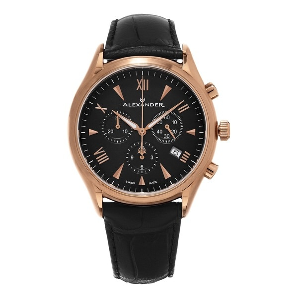Alexander Men's A021-03 'Pella' Black Dial Black Leather Strap Swiss Quartz Chronograph Watch