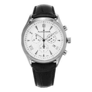 Alexander Men's A021-02 'Pella' Silver Dial Black Leather Strap Swiss Quartz Chronograph Watch