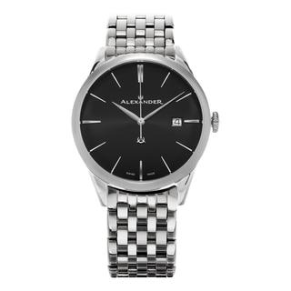 Alexander Men's A911B-03 'Sophisticate' Black Dial Stainless Steel Swiss Quartz Dress Watch