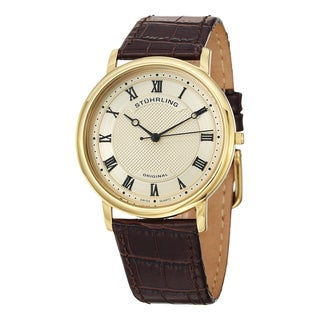 Stuhrling Original Men's Classique Swiss Quartz Brown Leather Strap Watch