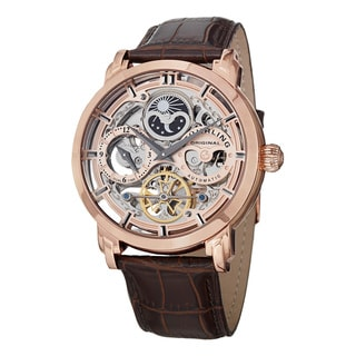 Stuhrling Original Men's Anatol Automatic Skeleton Brown Leather Strap Watch