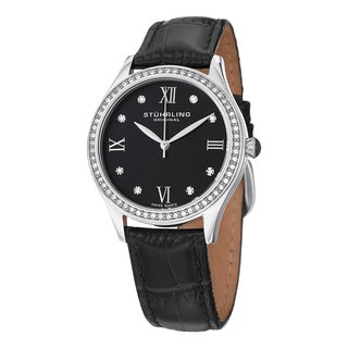Stuhrling Original Women's Vogue Swiss Quartz Black Crystal Leather Strap Watch