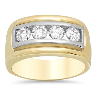14k Gold Men's 4/5ct TDW Diamond Ring (E-F, VS1-VS2)