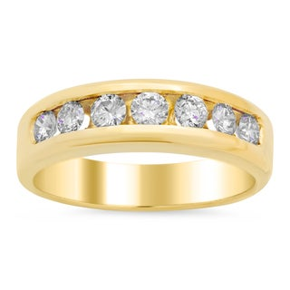 14k Yellow Gold Men's 1ct TDW Diamond Wedding Ring (E-F, VS1-VS2)