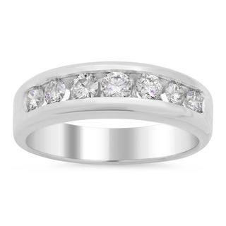 14k White Gold Men's 3/4 ct TDW Diamond Wedding Ring (E-F, VS1-VS2)