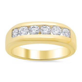 14k Yellow Gold Men's 1 1/6ct TDW Diamond Wedding Ring (E-F, VS1-VS2)