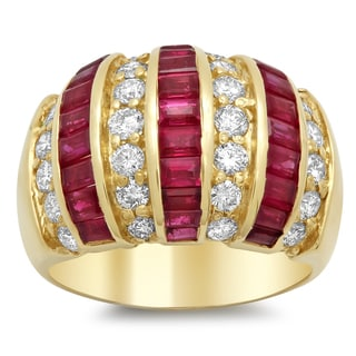 14k Yellow Gold 1ct TDW Diamond and 3 4/5ct TGW Ruby Ring (F-G, VS1-VS2)