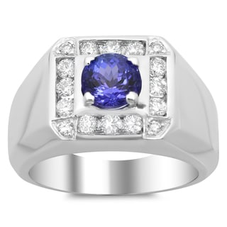 14k White Gold 1ct TDW Diamond and 2ct TGW Tanzanite Ring (F-G, VS1-VS2)