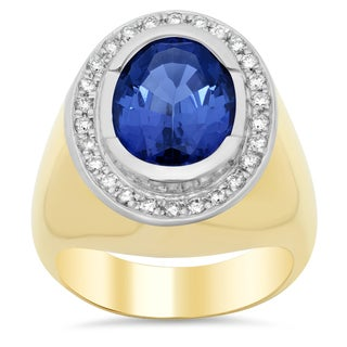 14k Two-tone Gold 1/3ct TDW Diamond and 8ct TGW Tanzanite Ring (F-G, VS1-VS2)