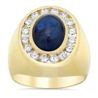 14k Yellow Gold 1 1/3ct TDW Diamond and 7 3/5ct TGW Sapphire Ring (F-G, VS1-VS2)