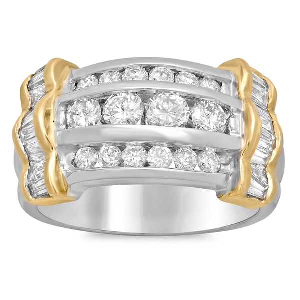 14k White Gold 2ct TDW Channel-set Diamond 3-row Ring (E-F, SI1-SI2)