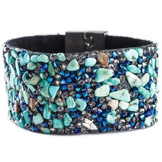 Pearlperri 'Aquatiq' Blue Crystal and Turquoise Bracelet