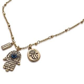 Pearlperri Ornate Ancient-style Hamsa Necklace Positive Energy
