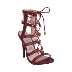 Women's Wild Diva Bahar-26-FE Gladiator Sandal Burgundy Faux Leather