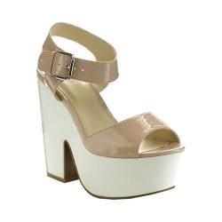 Women's Wild Diva Elfi-03-LF Platform Sandal Natural Patent Faux Leather