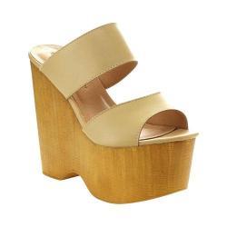 Women's Wild Diva Nikki-01-LF Platform Sandal Natural Faux Leather