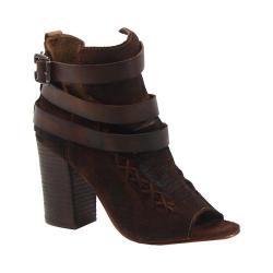 Women's Diba True In The Books Open Toe Bootie Chestnut Leather/Suede