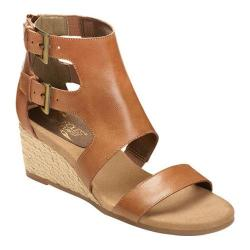 Women's Aerosoles Cyberspace Wedge Sandal Dark Tan Leather