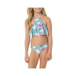 Girls' O'Neill Riviera Ruffle High Neck Halter Swim Set Celadon
