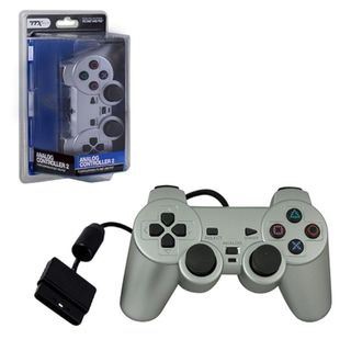 TTX Tech Silver Wired 12 Key Sony Playstation PS 2 Dual Shock 2 Analog Controller