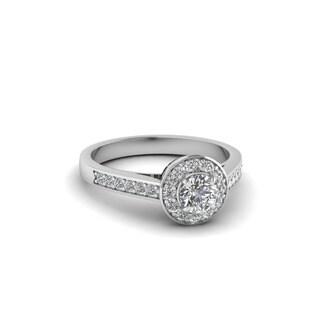14k White Gold 1/2ct TDW Round-cut Pave-set Diamond Halo Finesse Engagement Ring (G-H, I1-I2)