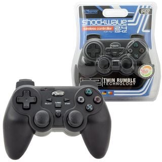 KMD Black Wireless 2.4GHZ Shock-wave Controller For Sony Playstation PS 2