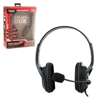 KMD Black Large Wired Professional Gaming Headset With Microphone For Sony Playstation PS 3/ 4