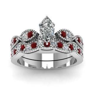 14k White Gold 3/4ct TDW Marquise-cut Diamond and Ruby Milgrain Weave Bridal Ring Set (G-H, SI1-SI2)