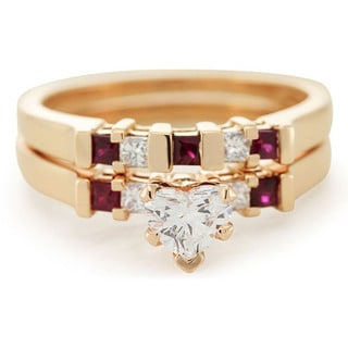 14k Rose Gold 3/4ct TDW Heart-cut Diamond and Ruby Aligned Grid Bridal Ring Set (G-H, SI1-SI2)