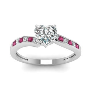 14k White Gold 1/2ct TDW Heart-cut Diamond and Pink Sapphire Swirl Channel Engagement Ring (G-H, SI1-SI2)
