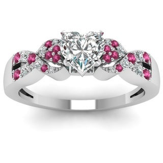 14k White Gold 3/4ct TDW Heart-cut Diamond and Pink Sapphire Intertwined Engagement Ring (G-H, SI1-SI2)
