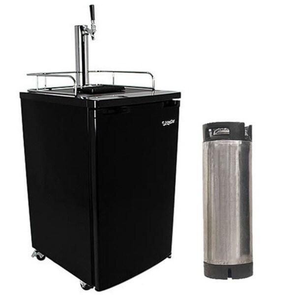 Edgestar KC2000HBKG Black Ultra Low Temp Home Brew Kegerator with Keg