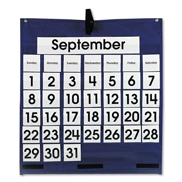 Carson-Dellosa Publishing Blue 25 x 28 1/2 Monthly Calendar 43-Pocket Chart 15934796