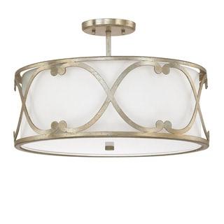 Capital Lighting Alexander Collection 3-light Winter Gold Semi-Flushmount