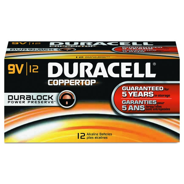 Duracell CopperTop 9V Alkaline Batteries with Duralock Power Preserve Technology (Pack of 12)