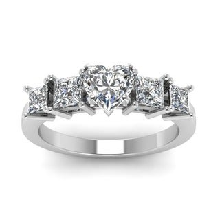 14k White Gold 1 1/4ct TDW Heart-shaped Diamond Tetrad Facade Engagement Ring (G-H, SI1-SI2)