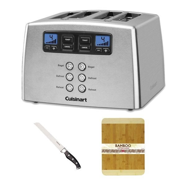 Cuisinart CPT440 Countdown Leverless 4-Slice Toaster + Bamboo Cutting Board + Sabatier Forged Soft Grip Bread Knife Bundle