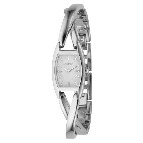 DKNY Women's Diamond Mother Of Pearl Dial Silver-Tone Stainless Steel Bracelet Watch NY4631