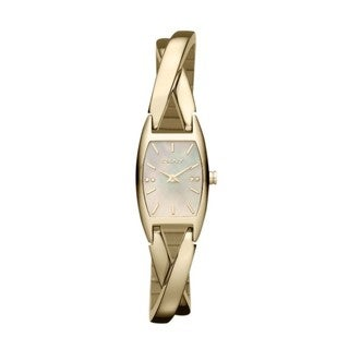 DKNY Women's Diamond Mother Of Pearl Dial Gold-Tone Stainless Steel Bracelet Watch NY8680