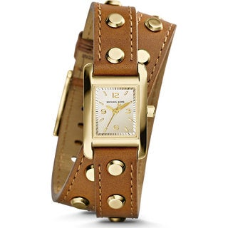 Michael Kors Women's Mini Taylor Square Gold Dial Brown Double Wrap Studded Leather Watch MK2340