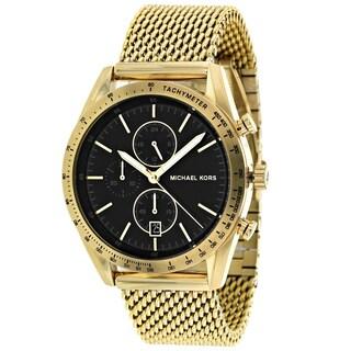 Michael Kors Men's Accelerator Chronograph Black Dial Gold-Tone Stainless Steel Mesh Watch MK8388