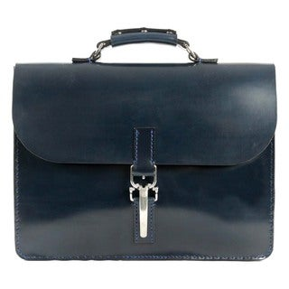 Marcellino NY Navy Blue Fine English Bridle Leather Briefcase