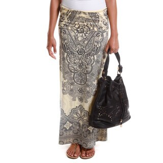 Hadari Women's Decorative Print Foldover Maxi Skirt