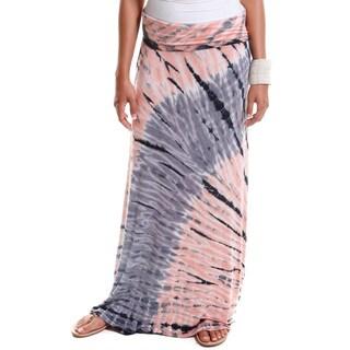 Hadari Women's Contemporary Tie-Dye Foldover Maxi Skirt