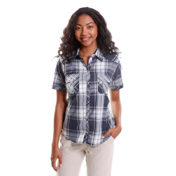 Hadari Women's Short Sleeve Plaid Button-Up Shirt