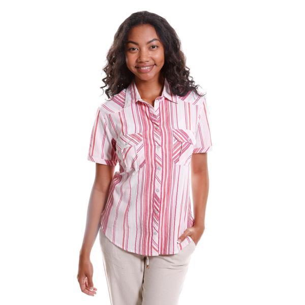Hadari Women's Short Sleeve Striped Button-Up Shirt