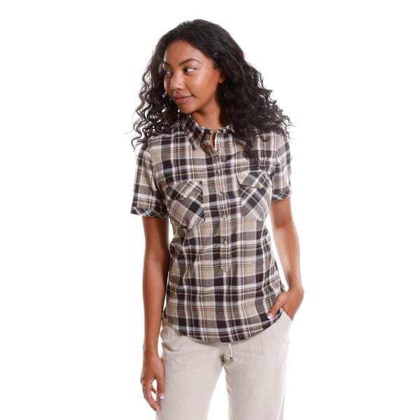 Hadari Women's Short Sleeve Plaid Button-Up Shirt