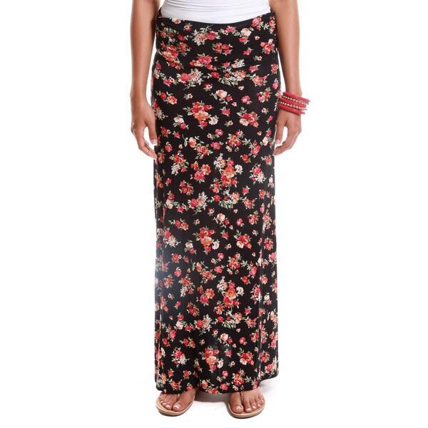 Hadari Women's Floral Print Foldover Maxi Skirt