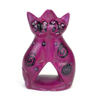 Handcrafted 4-inch Soapstone Love Cats Sculpture in Purple